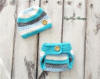 Newborn to 3 Month Old Baby Boy Crochet Button Hat and Diaper Cover Set Blue White Turquiose and Gray Stripes