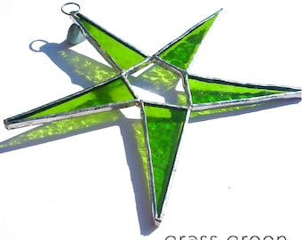 Grass Green Stained Glass Star Suncatcher