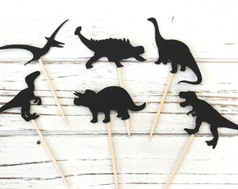 Dinosaur Silhouette Cupcake Toppers - Set of 12