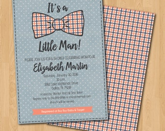 PRINTABLE Bowtie boy baby shower invitation and coordinating back