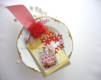 Festive Holiday Candy Jar Bingo Card Snowflake XL Deluxe Christmas Gift Tag or Homemade Card~hang tag~Tulle Pom Pom~red~gold~yellow
