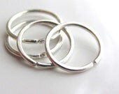 4 Silver Small Hoop Earrings Free Shipping, Ear Lobe Helix Cartilage Piercing, 4 Silver Hoops