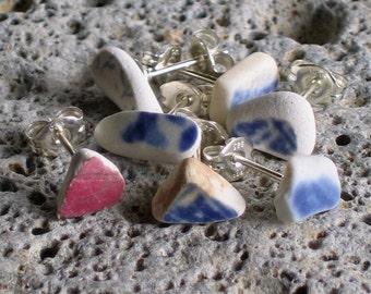 7 Sea Beach Pottery Sterling Silver Studs Post Earrings (761)