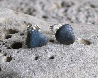 Blue Slag Glass Sea Glass Sterling Silver Studs Post Earrings (764)