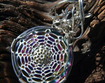 Wire Wrapped Spiderweb Czech Glass Pendant