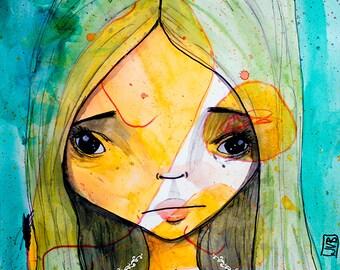 Art Print - 'Green Juneau Dreams' - Medium Sized 8x10 or 8.5x11 Art Print - Mother and Daughter collaboration print - Nursery Art