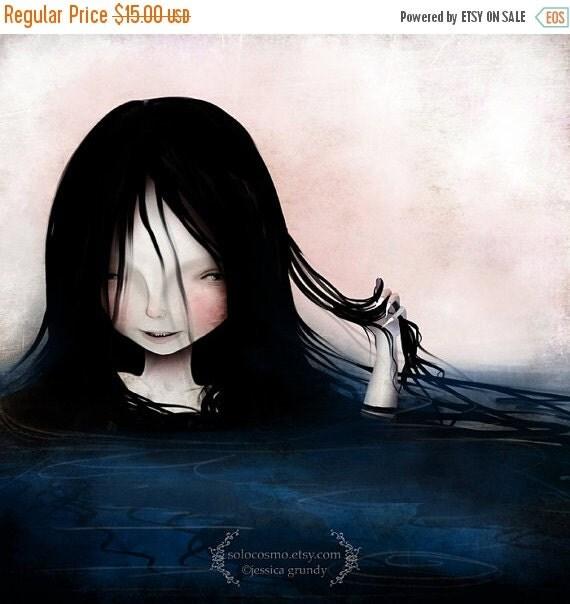 SUMMER SALES EVENT Fine Art Print - 'Swim' - Dark Haired Water Siren/Mermaid Lowbrow Art - 8.5x11 or 8x10 Medium Sized Giclee Print