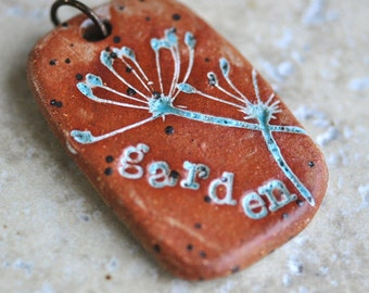 Master in Your Garden Ceramic Pendant, ceramic jewelry, stoneware clay, plant jewelry, eco jewelry