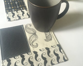 Mug Rug, Placemat, Snack Mat, cubicle decor with black and white hipster mustaches