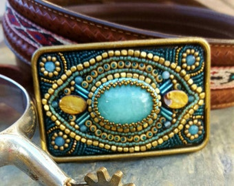 Western Inspired Bead Embroidery Belt Buckle