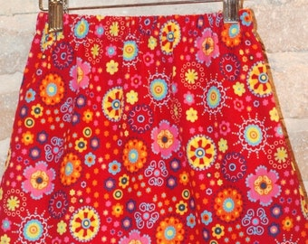 ON SALE Whimsical Floral Corduroy A-line Skirt - modern toddler girls clothing - fall fashion - made to order - sizes 2T 3T 4 5 6 7 8