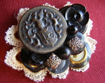 Vintage Button Lace Collage Pin