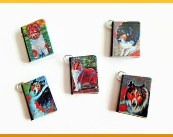 Dogs Miniature Book Charms Set of all 5 Herding Breeds Collies Shelties Puppy Modern Art