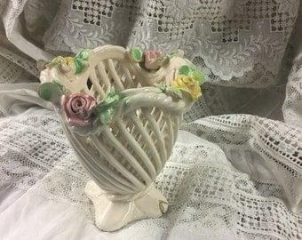 Diminutive Capodimonte Roses Vanity Vase Flowers Pottery Ceramic China
