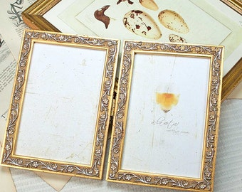 5x7 inch narrow gold hinged double frame vine leaf motif for anniversary or wedding celebration - Double 5x7 Picture Frame