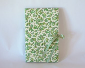 Blank book journal chapbook-green Florentine print with a sage ribbon-(6x9in.)-Ready to ship
