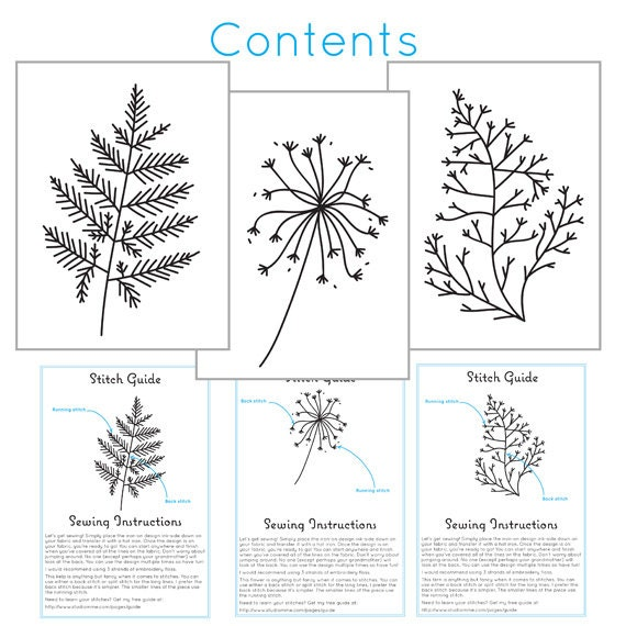 Cyanotype botanicals iron on transfers for embroidery