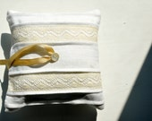 Linen Pintuck Vintage Lace and Button Ring Bearer Pillow