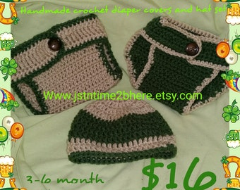 Crochet Diaper Covers & Hat set