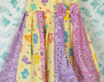 custom boutique twirl dress made with carebear fabric size 3t ready to ship sale
