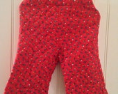 6 months vintage red quilted flower pants