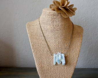 Aquamarine Gemstone Slice Necklace
