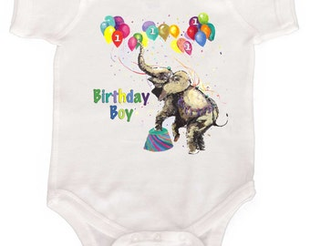 Birthday Boy Bodysuit Circus Elephant by Mumsy Goose Birthday Rompers to Toddler Tshirts