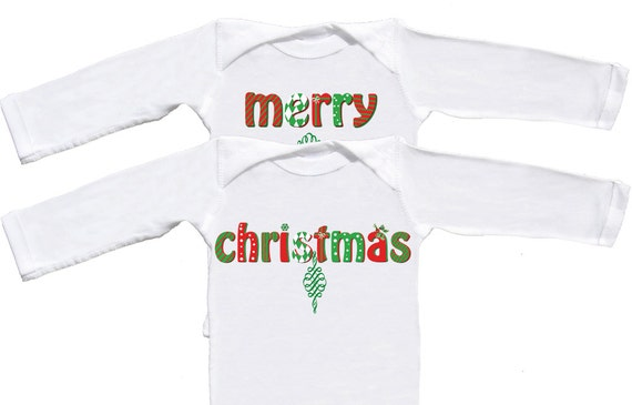 Christmas Twin Bodysuits Infant Long Sleeve One Pieces Infant T-shirts Twins First Christmas Outfits Merry Christmas