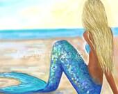 """Mermaid Art Mermaid Art Print Mermaid Wall Art Mermaid Decor Beach Art Decor Wall Hanging """"MERMAIDS MAGICAL BEACH""""  Leslie Allen Fine Art"""
