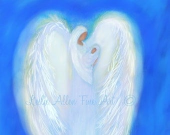 "Angel Art  Angels Art Angel Art Print Baby Angel Guardian Heavenly Loving ""ANGEL LOVE"" Precious Baby Angel Print  Leslie Allen Fine Art"