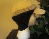 Practical Black And Gray Hand Knit Baseball Cap Ear Warmers