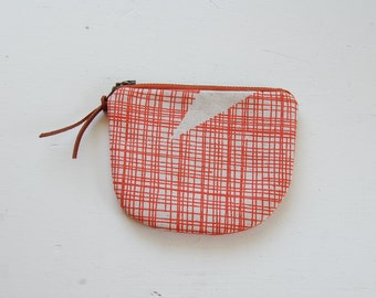 Orange Gridlines Padded Round Zipper Pouch / Coin Purse / Gadget / Cosmetic Bag - READY TO SHIP