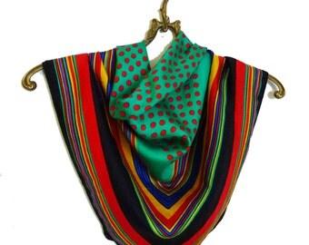 Carioca Geometrical Silk Vintage Print Scarf