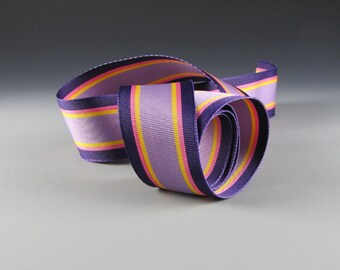 """1"""" and 1.5"""" Striped GROSGRAIN RIBBON LAVENDER Purple Gold Pink 20 Yard Roll Wholesale"""