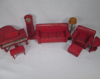 Strombecker Doll House Furniture 1931 - Red and Gold Living Room Set - One Inch Scale