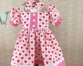 Fits American Girl 18 Inch dolls Valentine Short Sleeved Dress Argyle and Pink and Red Hearts Matching Hair Bow