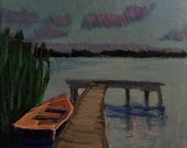 "Lake Night Boat - Original Acrylic Oil Encaustic Landscape Painting-10""x 10"""