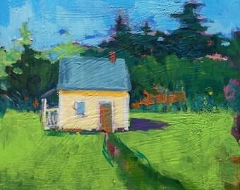 "Untitled Yellow Shadow - Original Acrylic Oil Encaustic Landscape Painting 10""x 10"""