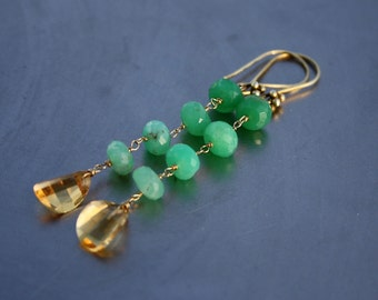 Gem Sunny Yellow Citrine Faceted Petal Briolette Ombre Green Chrysoprase Gold Dangle Linear Earrings