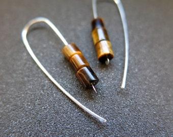 tiger eye earrings. natural stone jewelry. sterling silver earings.