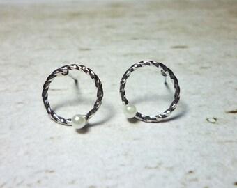 SALE - Twist Hoop Stud Earrings, Dainty Earrings