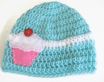 Crochet Baby Girl Hat Felt Cupcake Applique - Crochet Baby Girl Cupcake Hat - Size 3 to 6 Months - Cupcake Applique Beanie