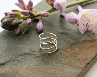 Triple Wrap Textured Sterling Silver Adjustable knuckle ring