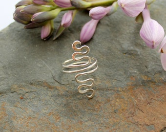 Double Wrap squiggle Sterling Silver Adjustable knuckle ring