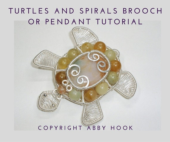 Turtles and Spirals Brooch or Pendant, Wire Jewelry Tutorial, PDF File instant download