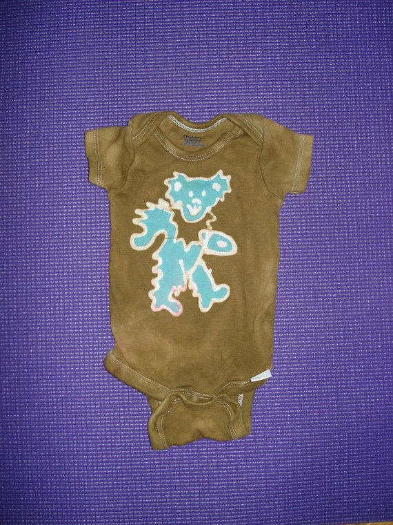 Grateful Dead Baby Batik Onesie Dancing Jerry Bear SALE READY to SHIP