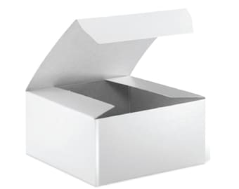 "10 White Gloss Gift Boxes, White Gift Boxes, White Favor Box . 4""x4""x2"""