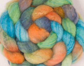 Hand painted spinning fibre, hand dyed roving, extra fine Merino, Tussah Silk, hand dyed fiber, spinning wool, Felt, colour; Rio Jate