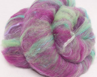 Hand Carded Batts, Merino, Falkland, Bamboo, Ingeo fibre, Firestar, Spinning fibre, felting, fiber, 100g, colour ; Secret Lover