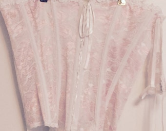 Pale pink and white lace corset with garters and little thong panty large